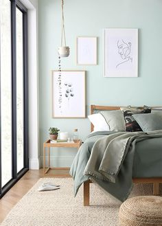3 Style Tips for Mindfulness in Your Home Bergamo Oak Bed Sage Green Bedroom, Green Bedroom Decor, Room Ideas Bedroom, Home Decor Bedroom, Bedroom Wall, Decor Room, Green Bedding, Forest Green Bedrooms, Home Decor Ideas