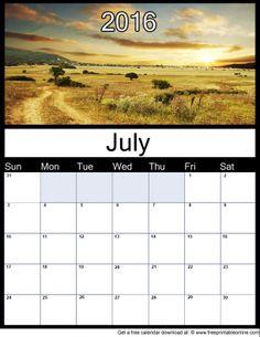 July 2016 Printable Monthly Calendar