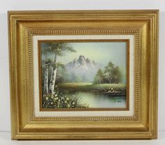 Signed S Young Naturalist Landscape Trees River Flowers Mountain Oil Painting