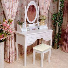 White Dressing Table Vanity Set Makeup Storage Organiser Bedroom Vanities | eBay
