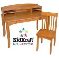 FURNITURE KID CHILDRENS WOOD/WOODEN HOME WORK TABLE/DESK w/ HUTCH+CHAIR - HONEY