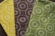 """""""OPTIK"""" von ASTROKATZE Interlock aus 100% Bio-Baumwolle #Astrokatze #Stoff #fabric #pattern #retro #cotton #braun #gruen #senfgelb #brown #green #yellow"""