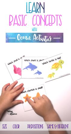 It's an ocean theme! Learn ocean animals while practicing basic concepts in this ocean unit for preschoolers. Twelve activities help teach basic concepts as well as categorizing what doesn't belong in the ocean.