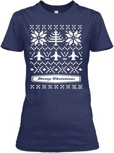 Ugly Christmas Sweater Airplane  Pilot  Navy Women's T-Shirt Front