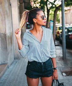 street style - black denim shorts, striped shirt ( summer )