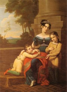 LOUISE OF SAXE-GOTHA-ALTENBURG with her sons PRINCE ALBERT, consort of QUEEN VICTORIA Ernest, Duke of Saxe-Coburg and Gotha. Painting by Ludwig Döll.