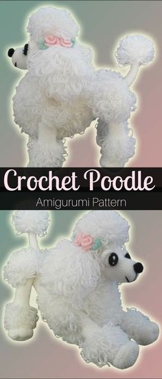 I love this Poodle Crochet Pattern. Poodles are so cute. If you are a dog's lover don't wait any longer and crochet this cutie in any color you love! #poodle #ad #crochetpattern #amigurumi #crochetdog