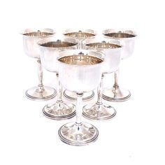 Vintage Set Of Six Silver Plated Cavalier Wine Goblets Lovely Display Or Toasting