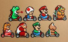 Super Mario Kart Perler Hama Bead Sprites by StrepiePixelCrafts