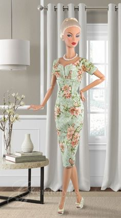 Soft green and peach floral print sheath for Victoire and similar sized dolls hugs every curve. Dress has snap back closure. Beautiful Barbie Dolls, Vintage Barbie Dolls, Sewing Barbie Clothes, Doll Clothes, Fashion Royalty Dolls, Fashion Dolls, Plastic Girl, Barbie Doll House, Daytime Dresses