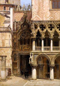 Antonietta Brandeis (1849-1910) Porta della Carta, Doge's Palace, Venice