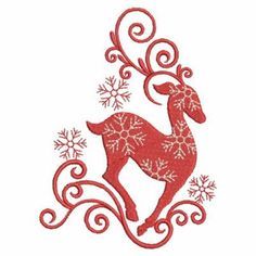 Ace Points Embroidery Design: Swirly Reindeer 3.82 inches H x 2.80 inches W