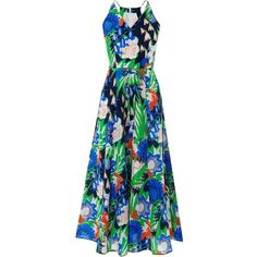 L.K. Bennett Kim Printed Floral Shift Dress (€370) ❤ liked on Polyvore featuring dresses, multi, blue floral dress, blue summer dress, long sleeve summer dresses, long-sleeve shift dresses and summer dresses