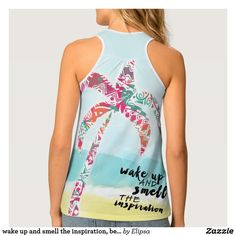 wake up and smell the inspiration, beach and palm tank top