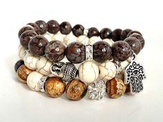 Buddha Stretch Bracelet Set Healing Gemstone Reiki Jewelry Stacking Bracelets Yoga Jewelry www.mybeadedearth.etsy.com