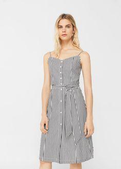 Striped poplin dress - Woman | MANGO United Kingdom