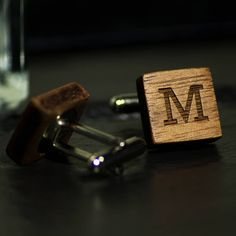 £24 personalised initial wood cufflinks by made lovingly made | notonthehighstreet.com