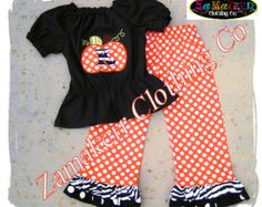 Girl Fall Thanksgiving Pumpkin Outfit Halloween Custom Boutique Clothing Dress Zebra Pant Set 3 6 9 12 18 24 month size 2T 3T 4T 5T 6 7 8