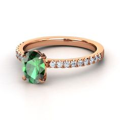 Oval Emerald 18K Rose Gold Ring with Diamond.