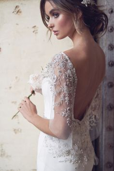 anna campbell 2019 bridal butterfly sleeves diamond neck simple embellished waist minimalist elegant fit and flare wedding dress backless scoop back chapel train zbv -- Anna Campbell 2019 Wedding Dresses Kate Wedding Dress, Fit And Flare Wedding Dress, Luxury Wedding Dress, Wedding Dress Shopping, Stunning Wedding Dresses, Vintage Inspired Wedding Dresses, Country Wedding Dresses, Best Wedding Dresses, Wedding Gowns