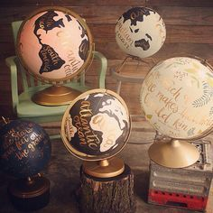 1canoe2 Hand Painted Globes.  Great Missouri Women, doing hand lettering and Illustration!   http://1canoe2.com/blog/