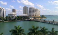 Brickell Key in #Miami. A view of the Mandarin Oriental #Hotel. #Travel.