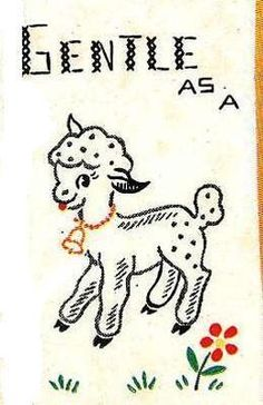 Vogart 250 Gentle as a Lamb, Happy as a Lark for Dish Towels. A 1940s hand embroidery pattern.