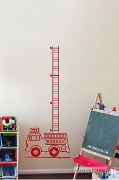 Firetruck Growth Chart  Vinyl Wall Art  FREE by showcase66 on Etsy, $45.00