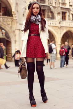 Discover this look wearing Ruby Red Lace Trunk Show Dresses, Ivory Oversized H&M Blazers - Dainty Red Lace by AiB styled for Chic, Shopping in the Spring Fashion Tag, Only Fashion, Girl Fashion, Socks And Heels, Knee Socks, High Socks, Online Clothing Boutiques, Feminine Style, Feminine Fashion
