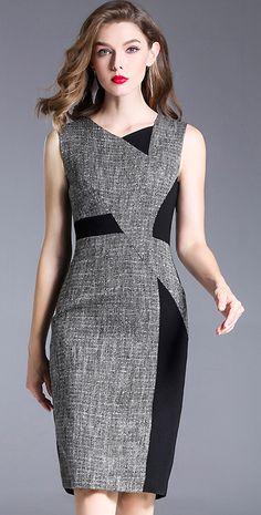 Brief Irregular Neck Hit Color Sleeveless Bodycon Dress