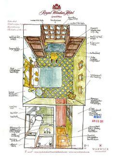 room sketches on hotel letterhead by mike daikubara.
