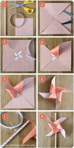 pinwheel paper straws-We Like Craft Origami Paper, Diy Paper, Paper Art, Paper Crafts, Diy For Kids, Crafts For Kids, Straw Crafts, Craft Projects, Projects To Try