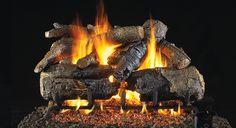 RealFyre Charred American Oak Log Set | seattleluxe.com Gas Log Burner, Gas Fireplace Logs, Gas Fireplaces, Oak Logs, Charred Wood, Wood Sample, Log Home Decorating, Real Fire, Wood Burning Fires