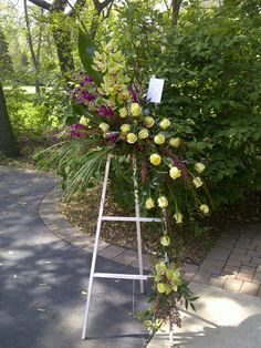 Funeral Arrangement -- Green Roses and Orchids