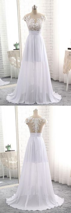 cap sleeves wedding dresses, wedding dresses with appliques, white wedding gowns