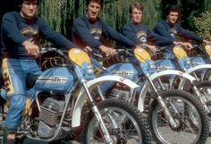 The Ktm Official Team 1975 posing, riding the KTM motorcycle racing...