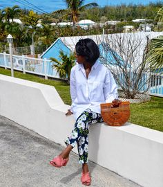 Wild Floral trousers with a Classic white shirt #ss17 #outfit #ootd #floral  from @awynterstyle's closet