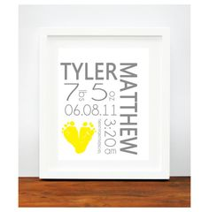 Yellow and Gray Nursery  Birth Announcement by PitterPatterPrint, $30.00