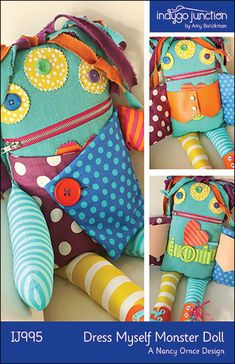 Dress Myself Monster Doll PDF sewing epattern  by indygojunction