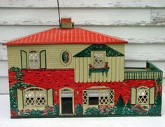 Vintage Metal Dollhouse T Cohn Lithograph by PoetryofObjects, $300.00.  Just like mine which is filled with Renwal furniture.