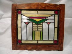Craftsman Stained Glass Window. $140.00, via Etsy.