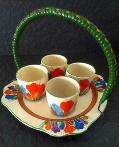 ~ Clarice Cliff Bizarre Breakfast Egg Cups set for 4...
