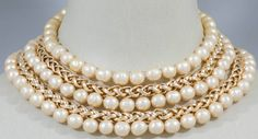 CHANEL Chain and Pearl Collar Style Necklace | From a unique collection of vintage multi-strand necklaces at https://www.1stdibs.com/jewelry/necklaces/multi-strand-necklaces/