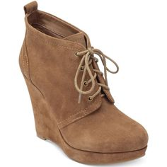 "The Catcher wedge booties by Jessica Simpson add beautiful texture and height to your look. Suede leather upper. Almond closed-toe platform wedge booties. 1"" p…"