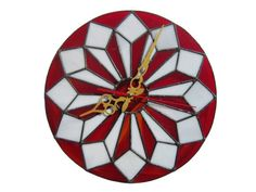 Big Wall Clock Contemporary House Modern Glass Designer Office Geometric Decorative Red Round Wedding Gift New Home Owner Housewarming Big Wall Clocks, Unique Wall Clocks, Red Clock, Clock Decor, Wall Decor, Stained Glass Flowers, Wall Clock Design, Glass Wall Art, Decoration