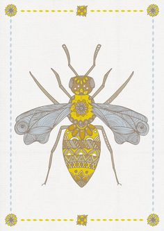 Mr Bee by Joanne Hawker I Love Bees, Save The Bees, Bee Happy, Queen Bees, My Honey, Honey Bees, Bee Illustration, Bee Tattoo, Tatoo