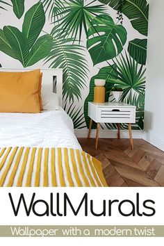 Tropical Master Bedroom, Tropical Bedrooms, Room Design Bedroom, Bedroom Ideas, Bedroom Decor, Bedroom Wallpaper Leaf, Tropical Wallpaper, Spare Room, My New Room