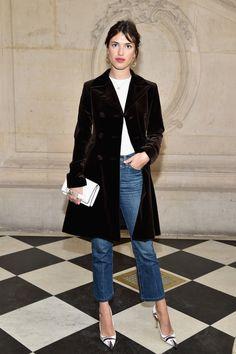 Velvet Coat, White T, Jeans, Graphic Heels