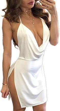 022f729175abf Amazon.com: VANCOL Women's Sexy Deep V-Neck Halter Backless Slit Mini Party