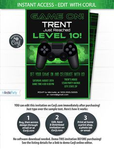 Video Game Party Invitations Video Game Invitation Video $7.99 #VideoGamePartyInvitations #VideoGameInvitation #VideoGameBirthday #Corjl